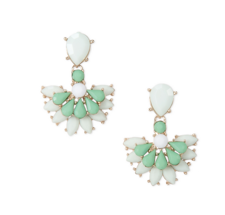 Urban Gem Fan Drop Earrings, Mint $21