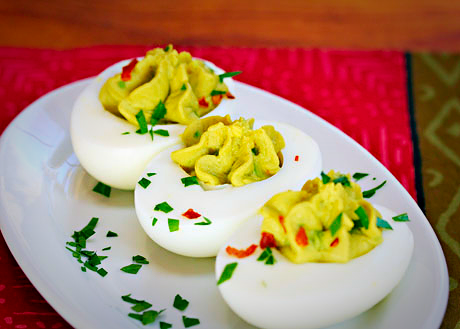I LOVE deviled eggs. These also are dairy free and gluten free and look hot damn delicious. The recipe is  here .