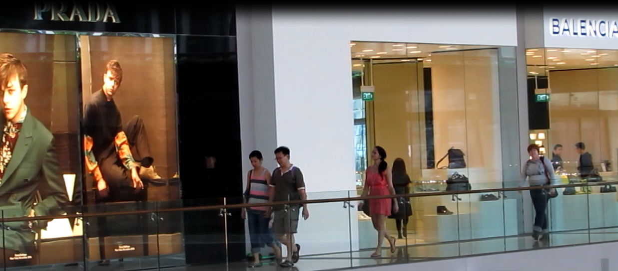 Michelle Liberman, The Freedom Friend, walking through one of Singapore's countless luxury malls. Economic freedom has helped Singaporeans prosper and live a higher standard of living.
