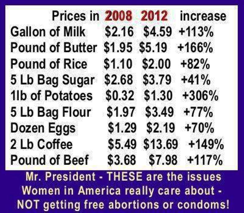 """Food prices and asset prices rise because of inflation (money being pumped into the economy by the Fed to """"stimulate"""") Image credit: cherylfrable.com"""