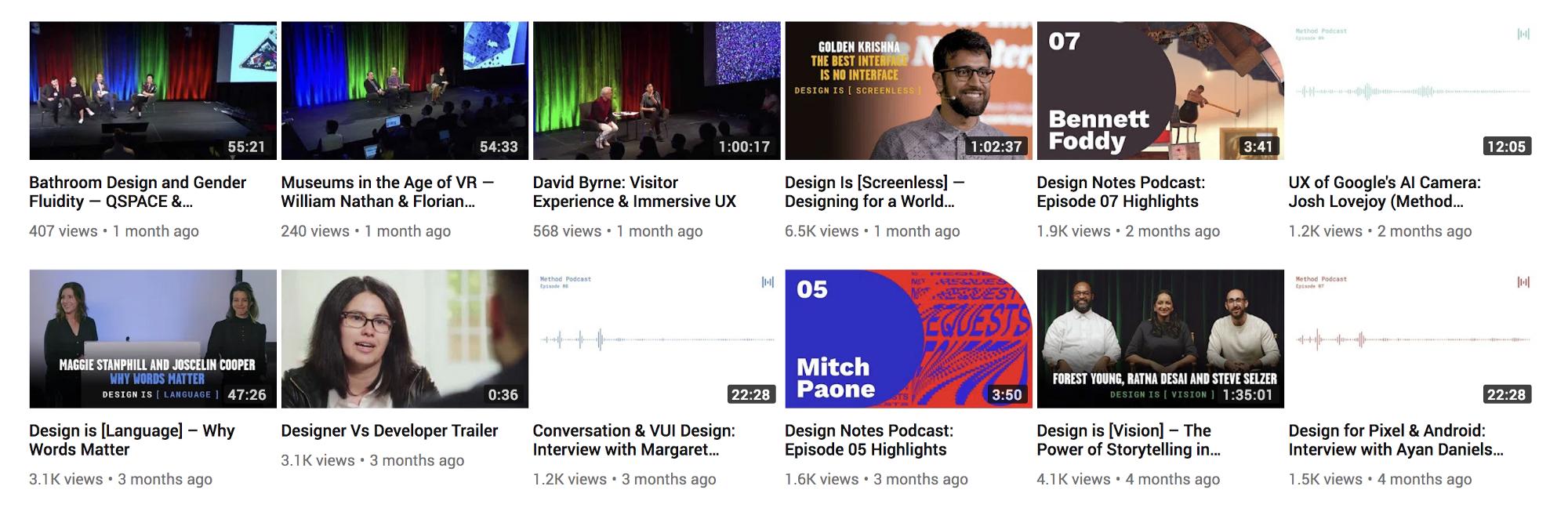 Design Notes' irregular thumbnails on the  Google Design channel