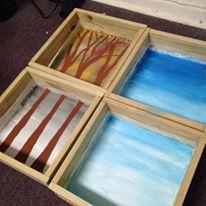 the start of something: four shadow boxes - one for each season