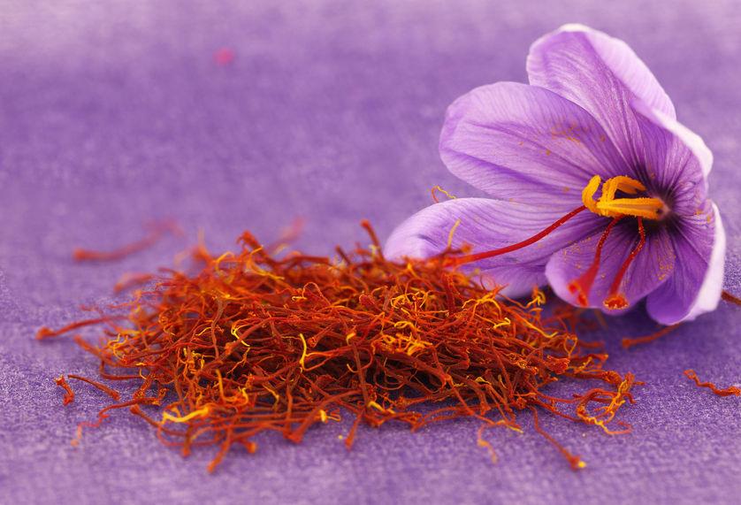 Saffron comes from the flower of Crocus sativus.