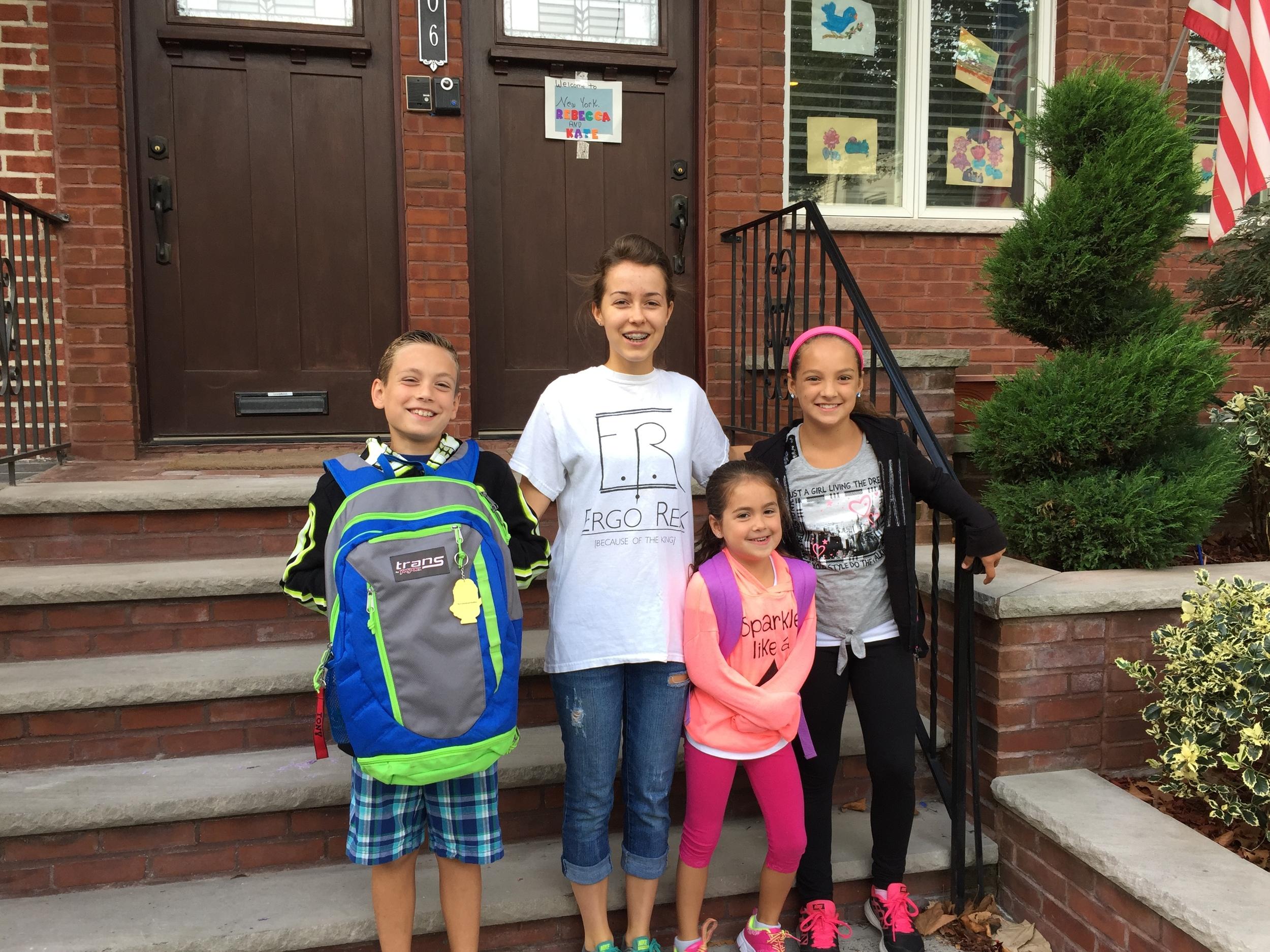 Tony (9), Ariana, (11) before school on Monday morning.