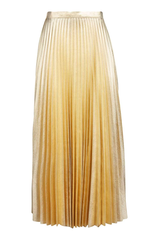 Gold Metallic Pleat Midi Skirt