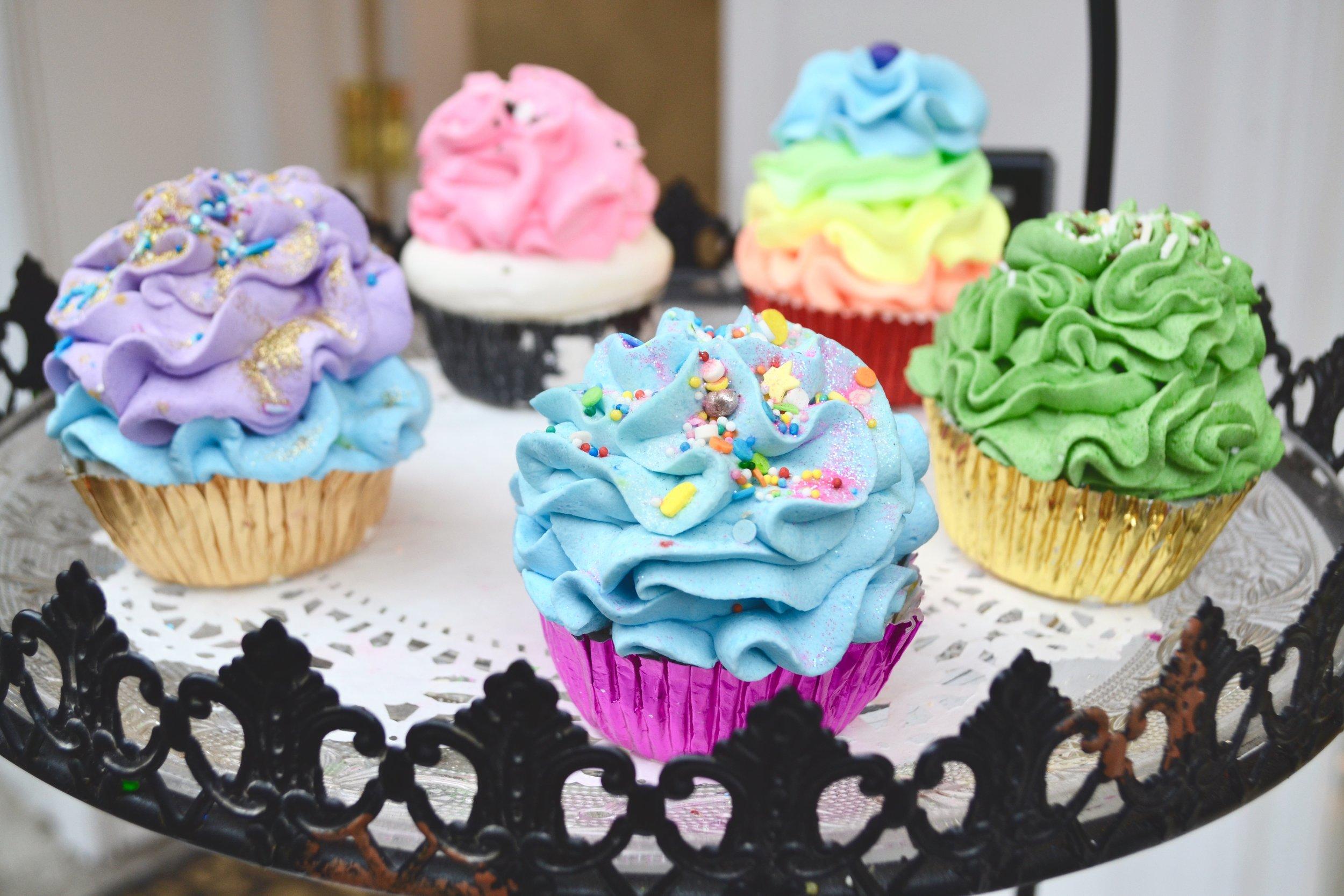 Bath-bombs shaped like cupcakes from  Ariana' s in SoHo.