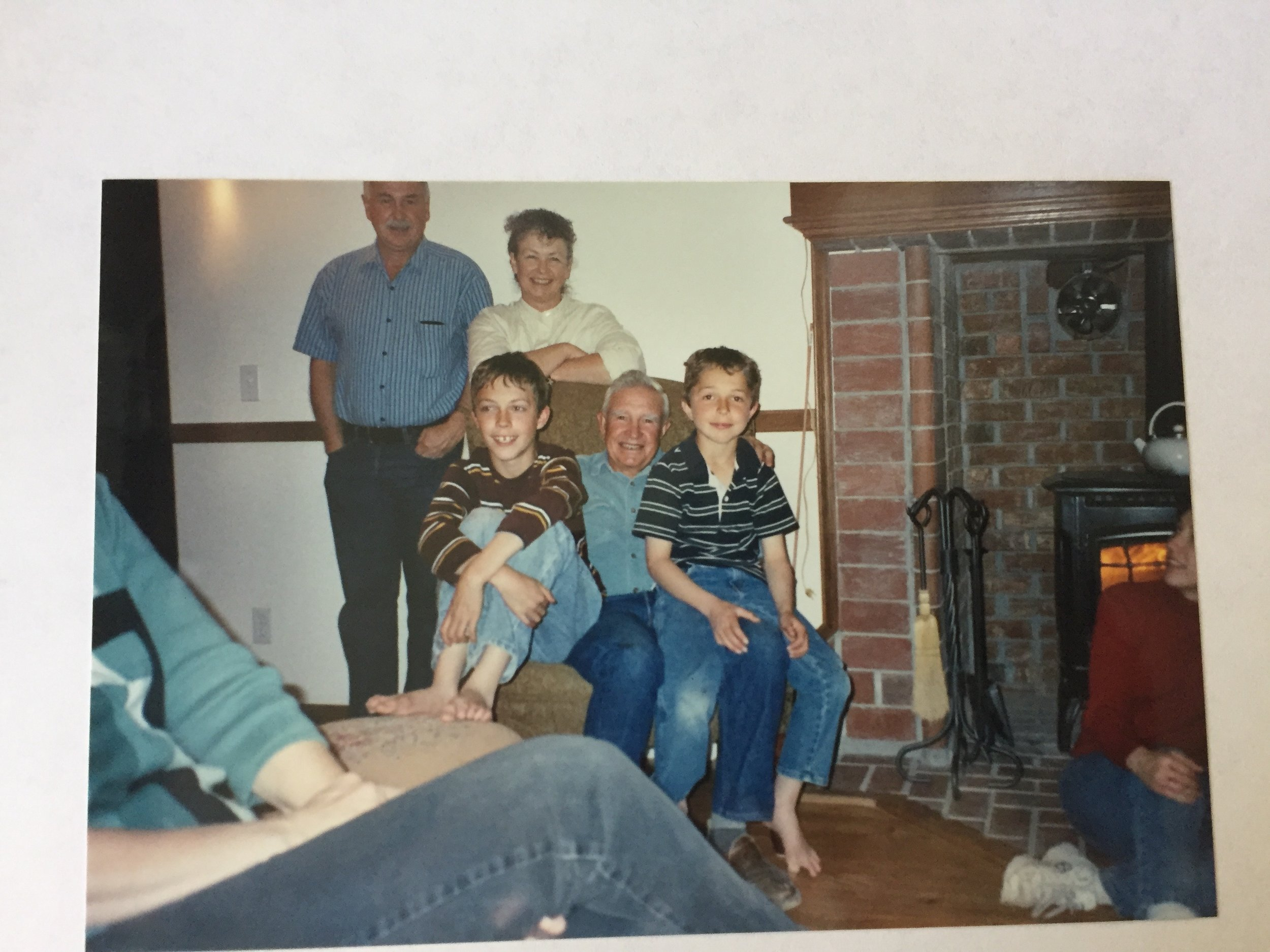 Grandpa Harold Miles and his Sister Pat, Brother Roger, and my brothers Daniel and Andrew.