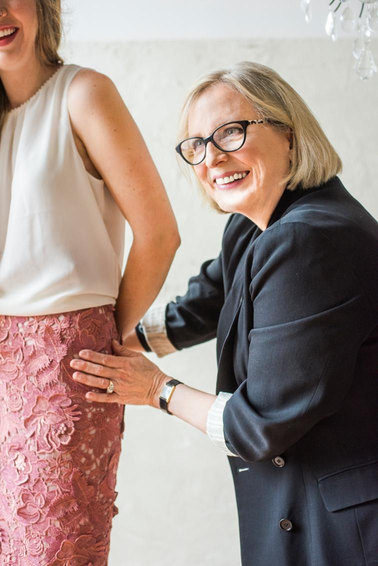Susan Khalje, photographed with couture skirt on her website, susankhalje.com