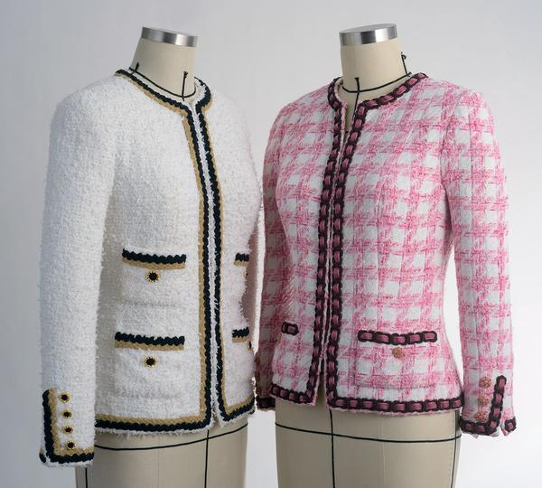 Chanel-style jackets that Susan teaches classes on how to make. Photo from her website, susankhalje.com