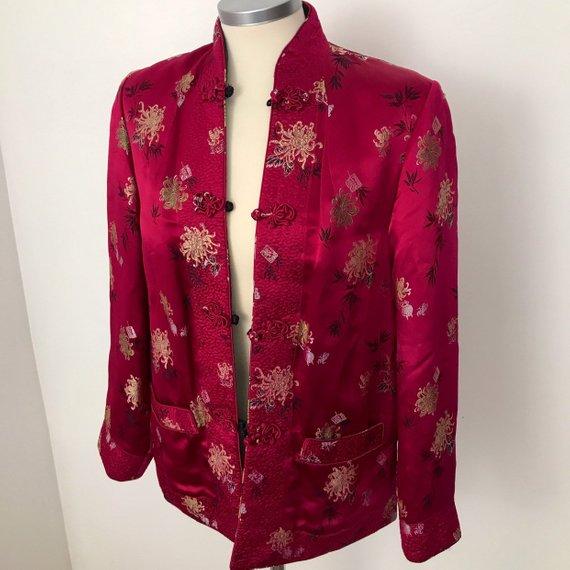 Vintage Reversible Chinese Silk Jacket - Etsy $28.74