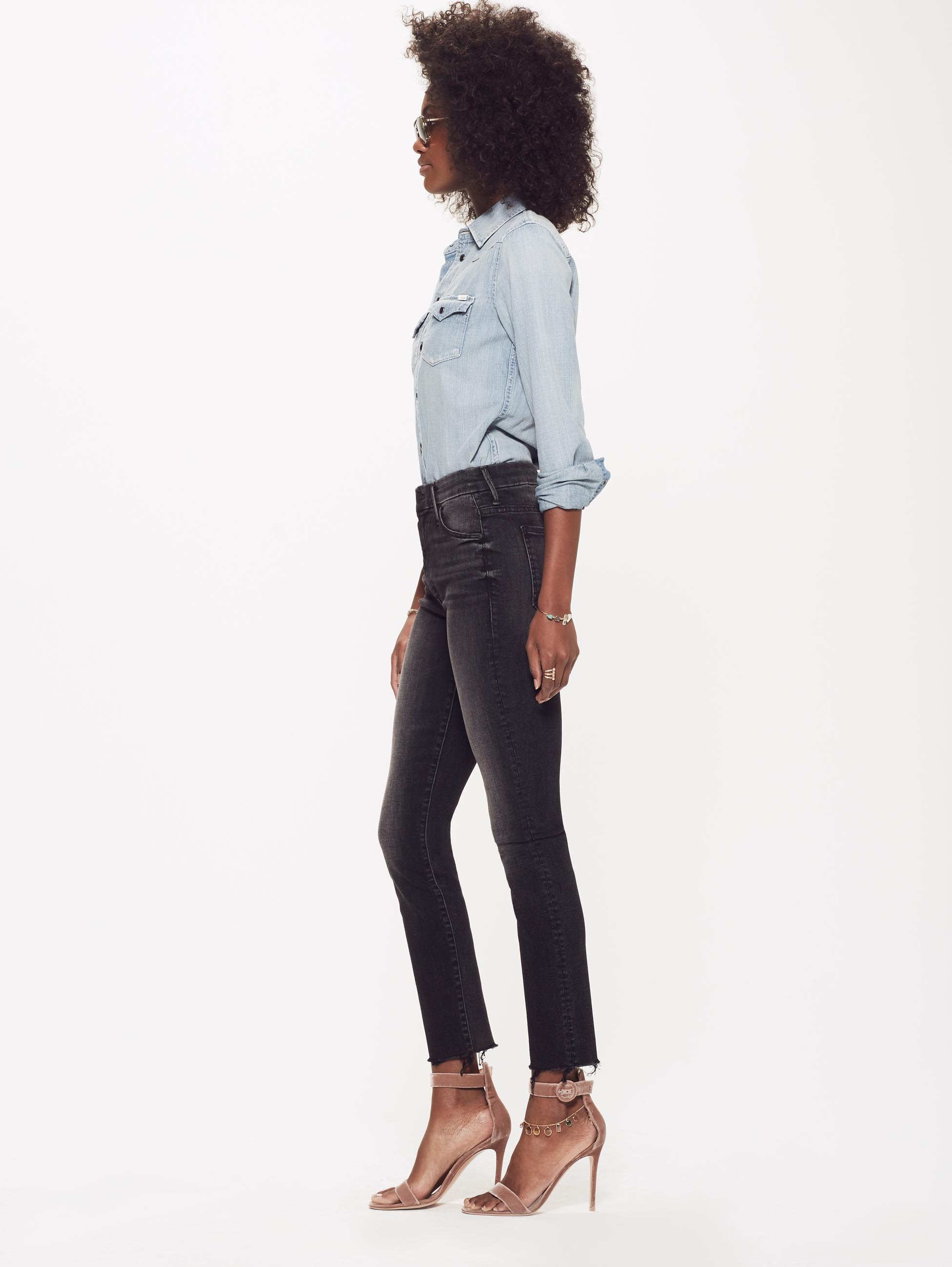 High Waisted Ankle Fray Jeans - MOTHER