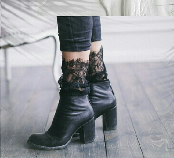 Lace socks with ankle boots and cropped jeans