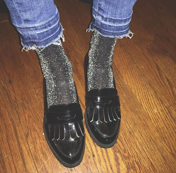 Glitter socks with denim and leather to mix textures