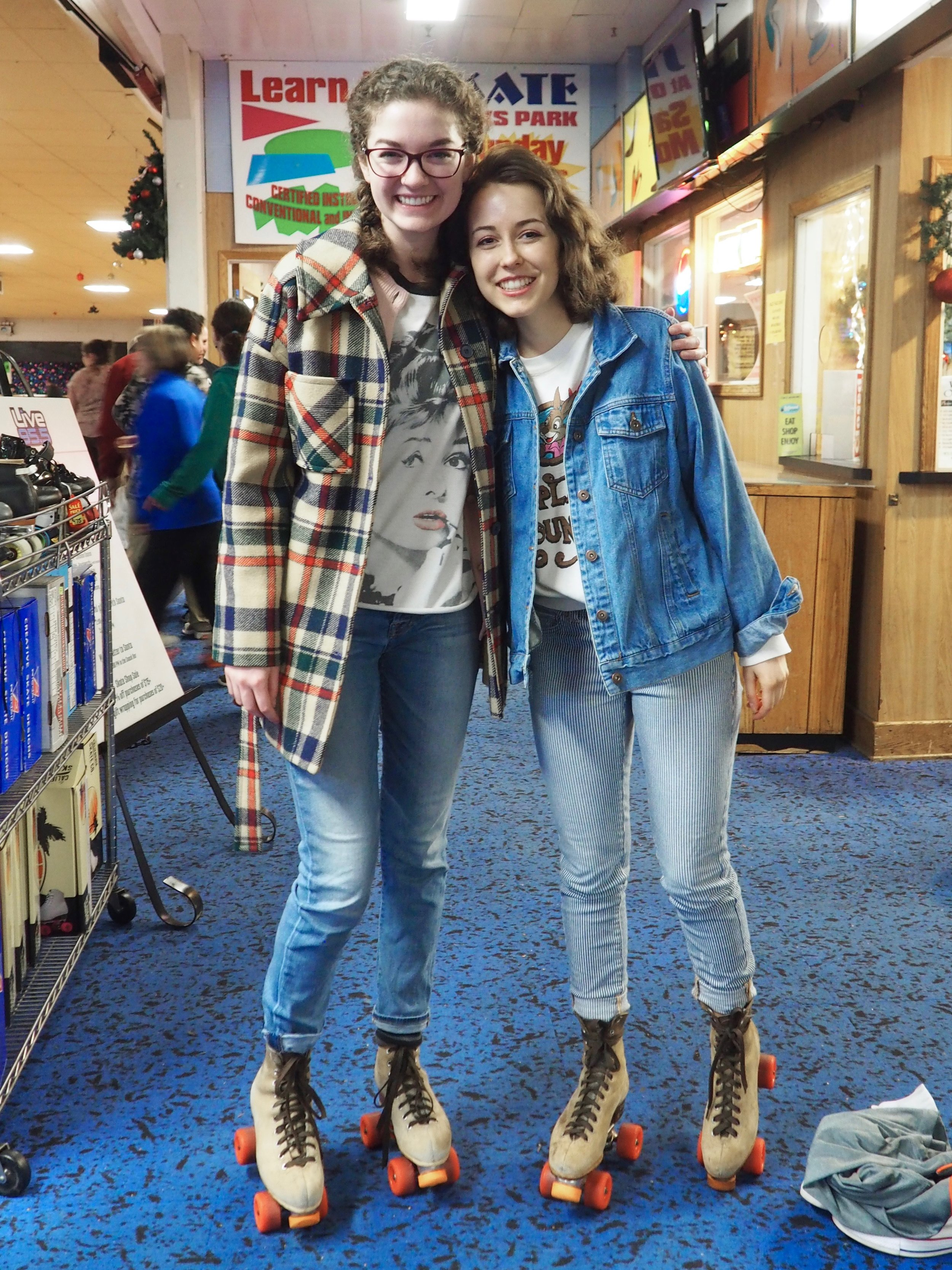 Rollerskating at  Oaks Amusement Park  with Julia and her amazing Pendleton Jacket