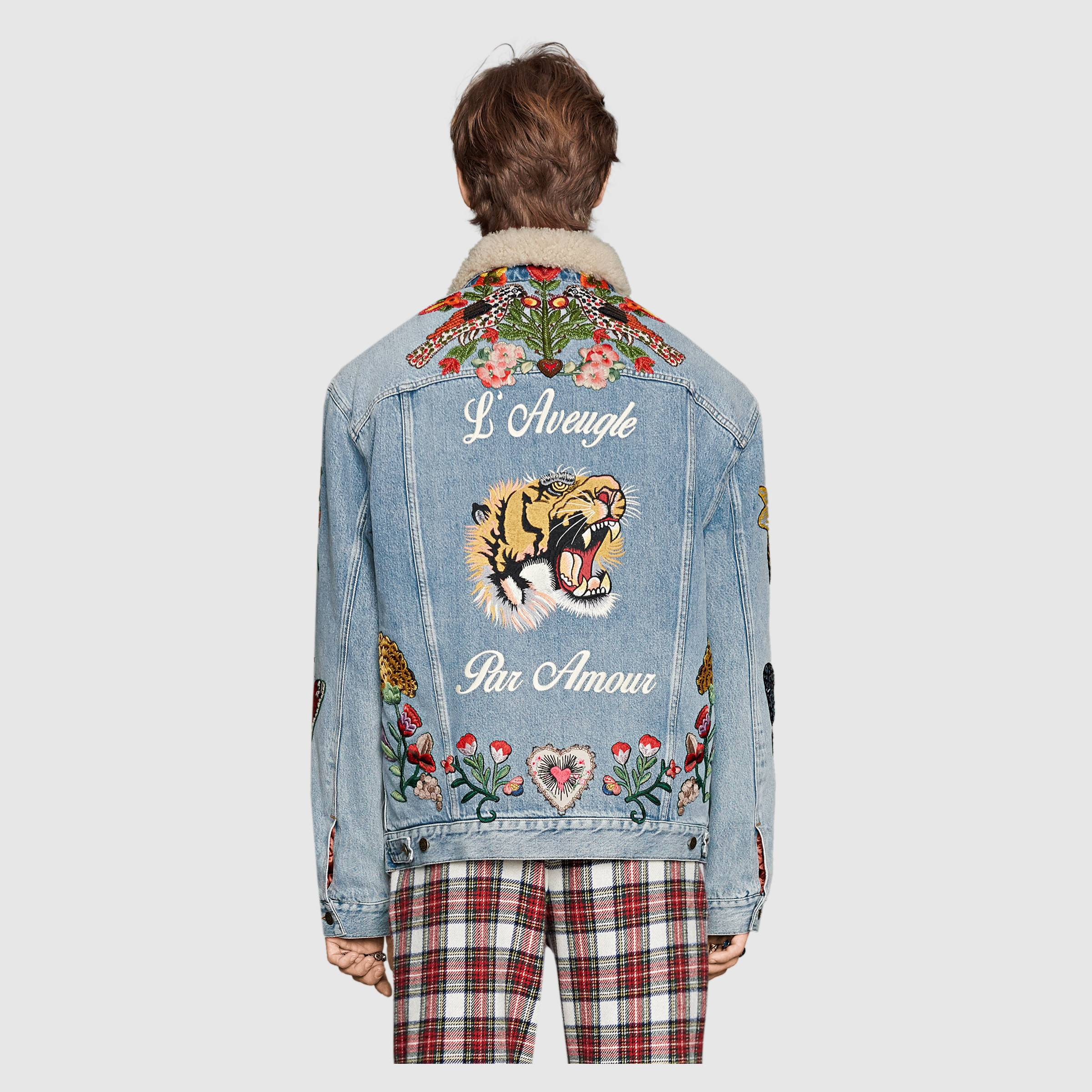 Gucci 2016 - Embroidered denim jacket with shearling$ 5,280