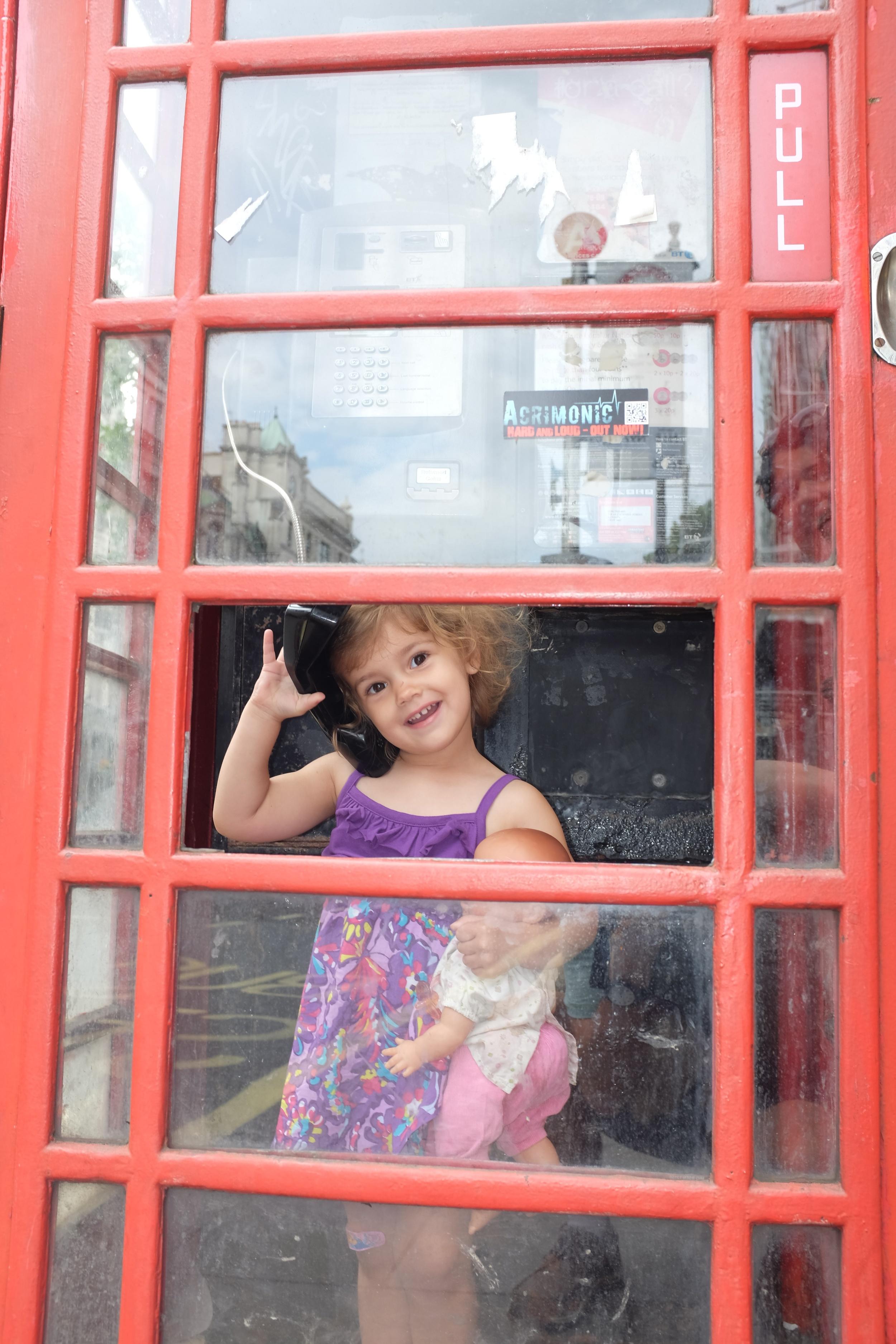 Hannah and Baby Ginger making a call
