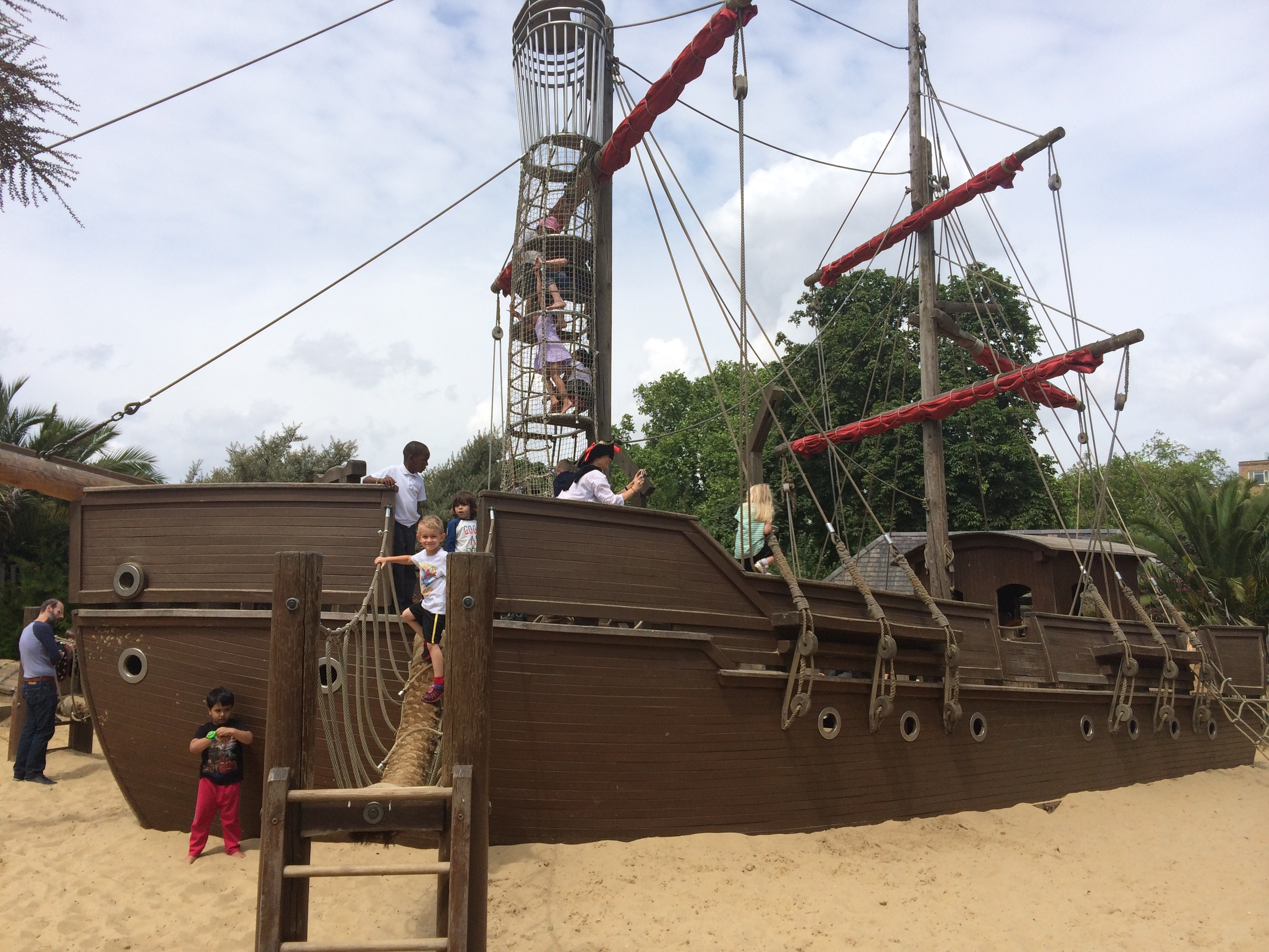 Kian on the Pirate Ship in the main section of the playground