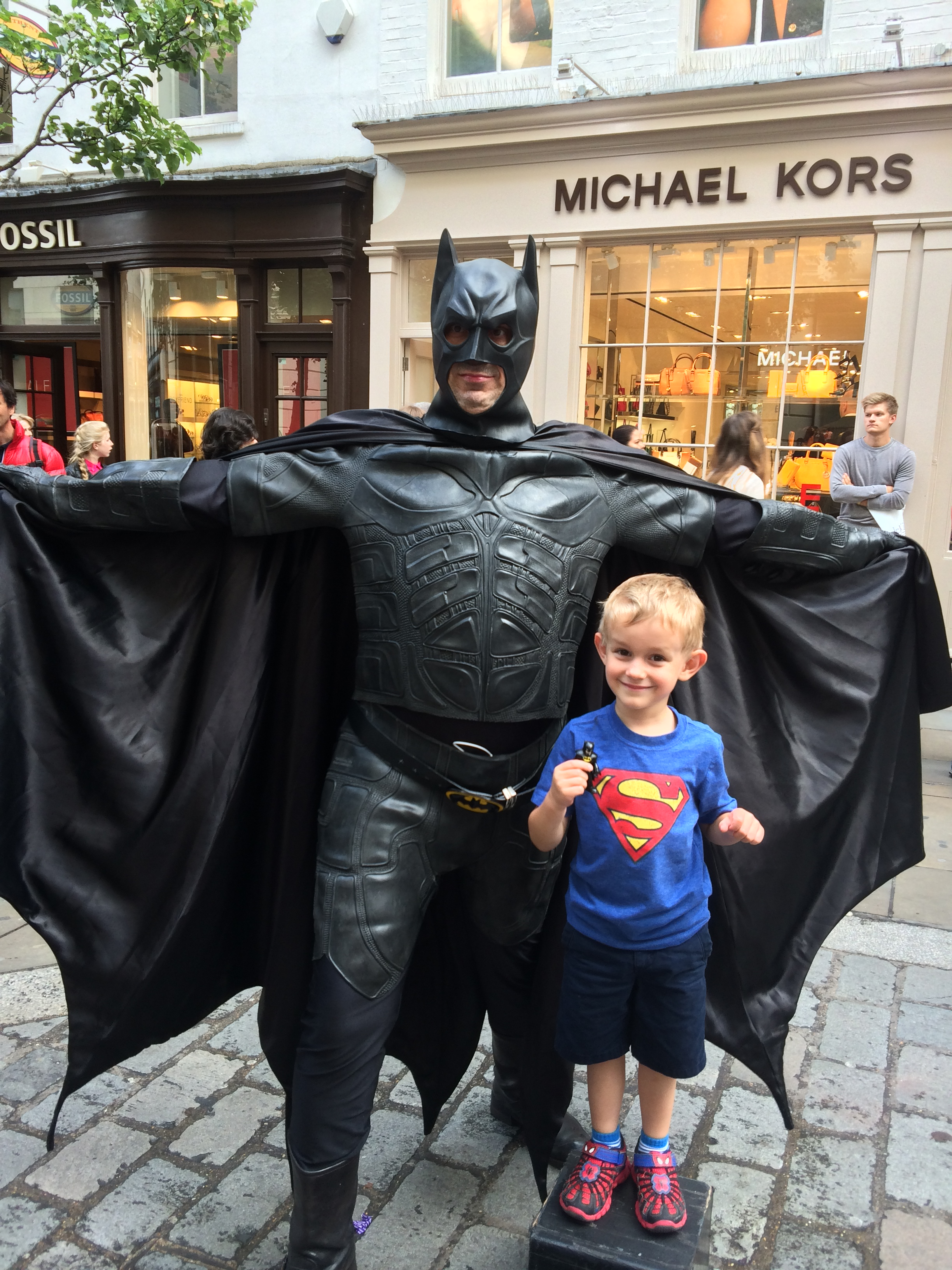 Kian, Batman (in Kian's hand), and Batman.  Kian's comment of course was that this Batman was lacking a Utility Belt.