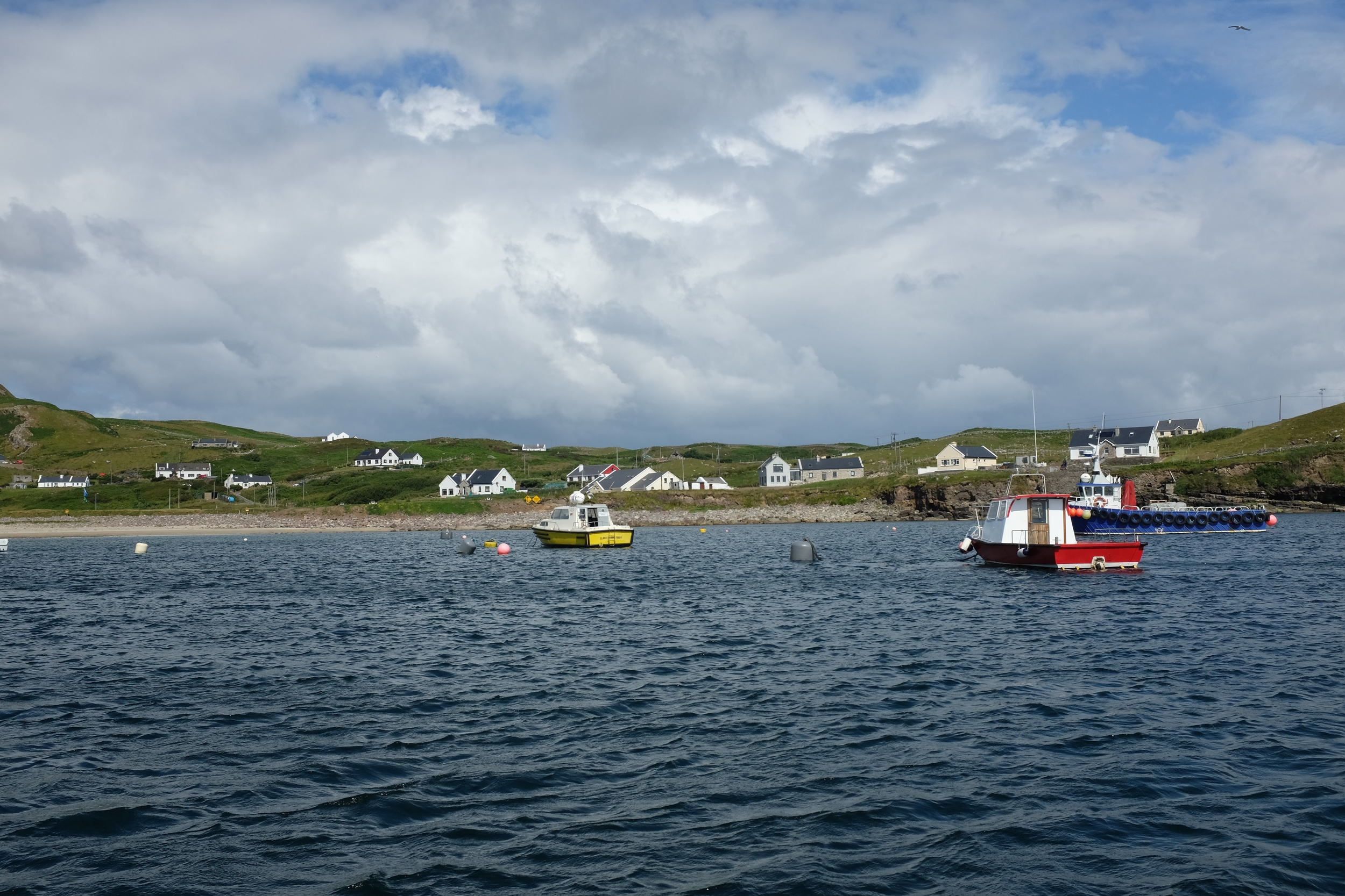 View of Clare Island Harbour from the ferry