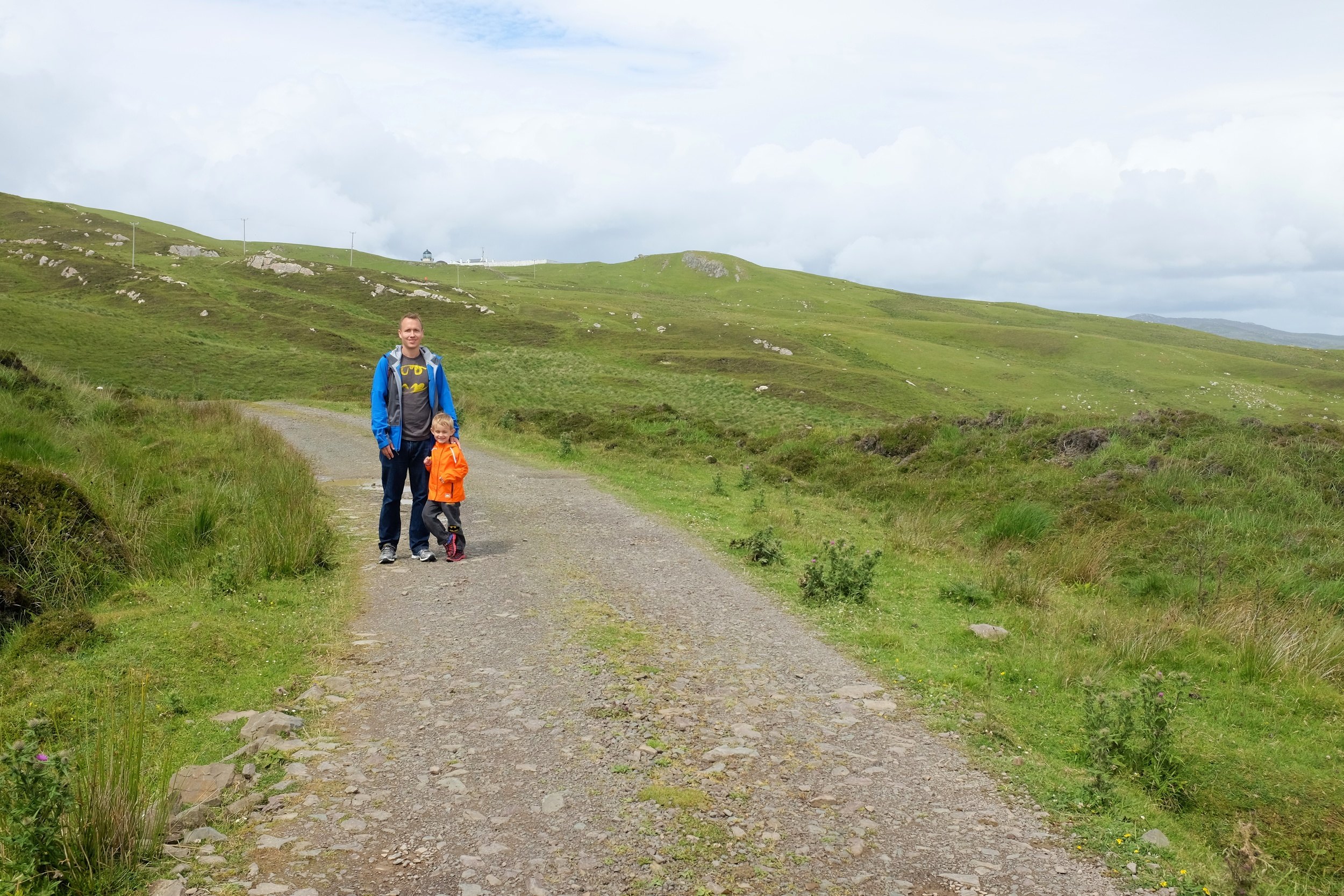 Kian and Daddy. If you look closely behind them you can see the top of the light house. We were getting close!