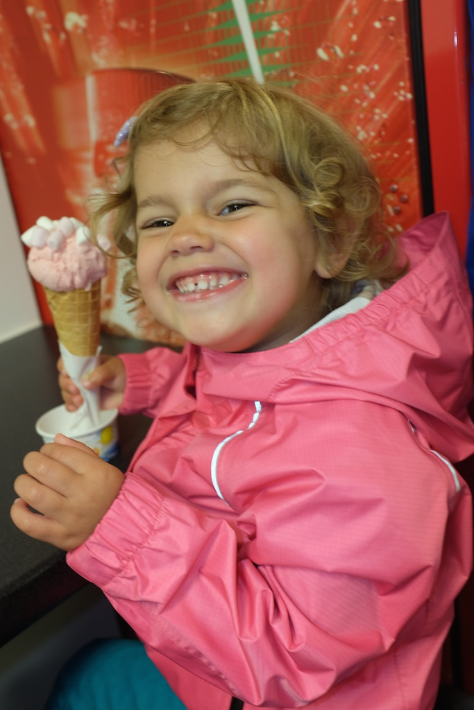 "Hannah loving her ""pink"" ice cream"