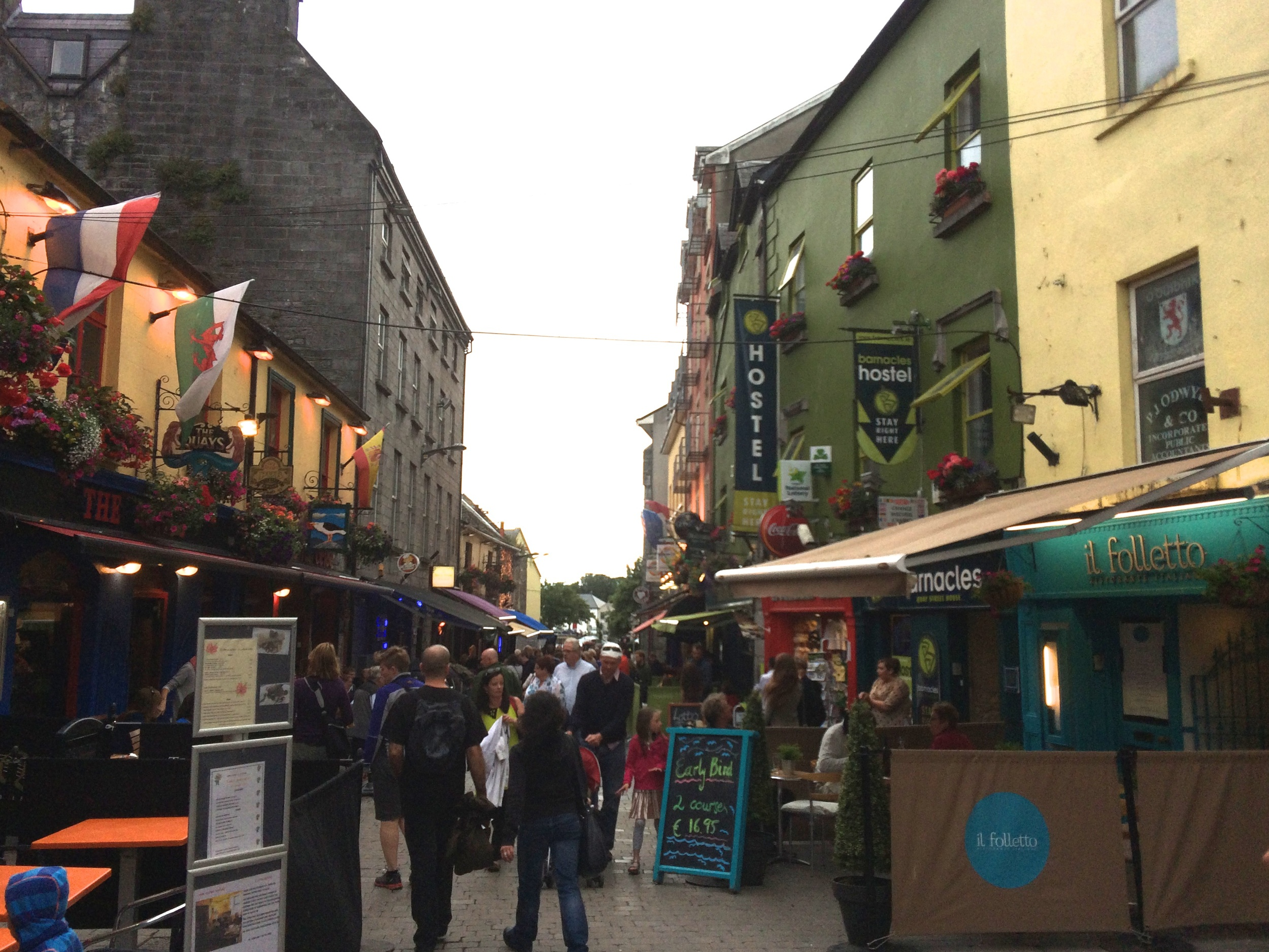 Barnacles Hostel (the green building) on Shop Street in Galway