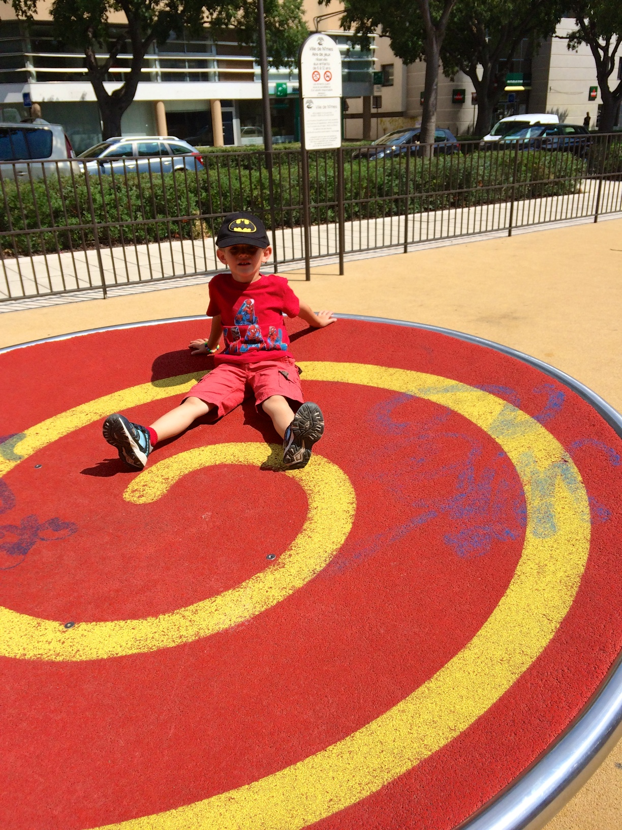 Kian on the whirly disc