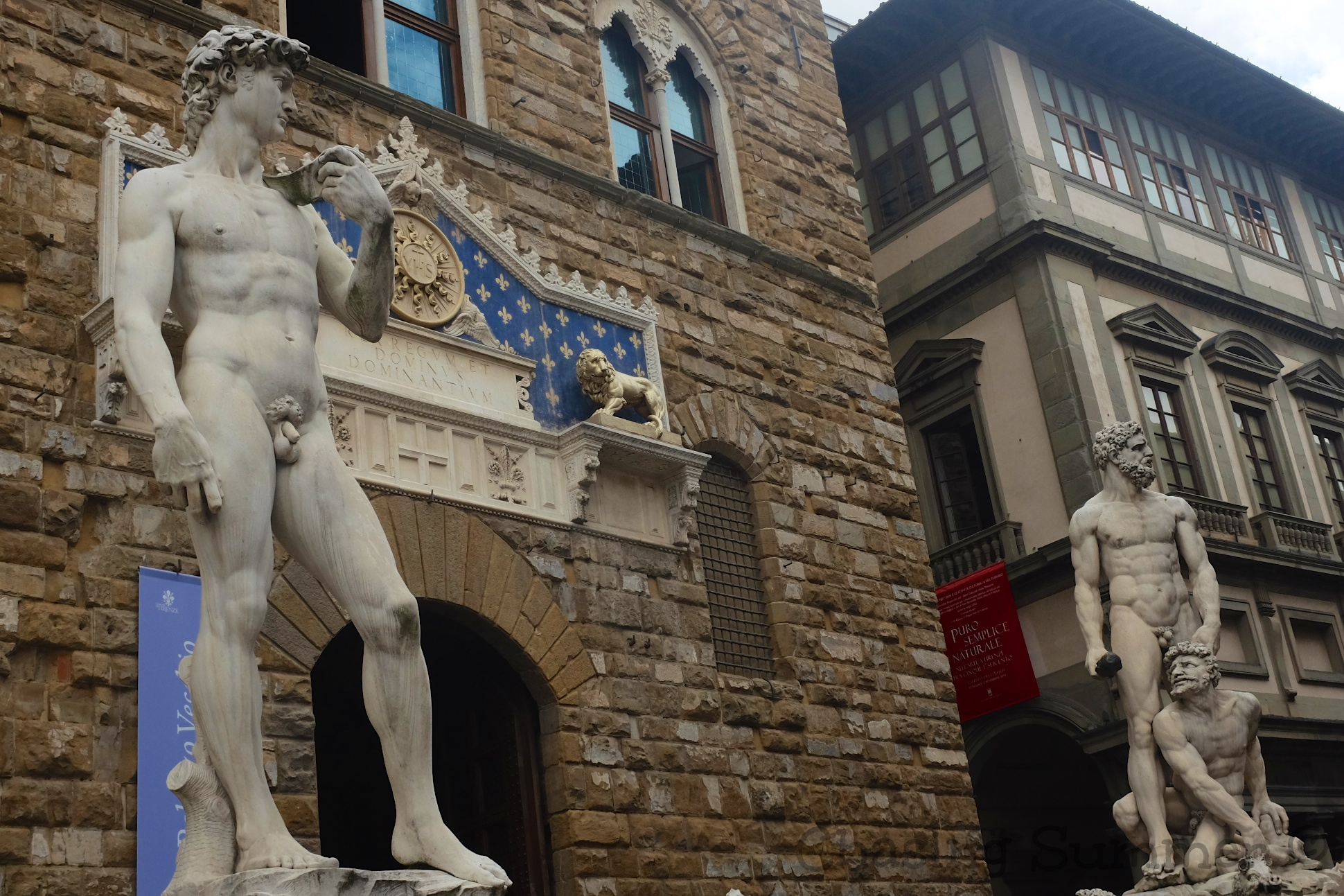A reproduction of Michelangelo 's statue  David