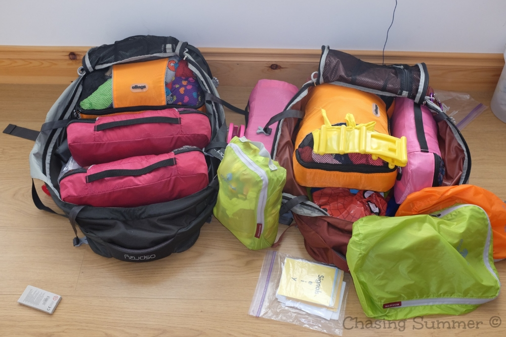 Osprey Farpoint fully packed with eBags and Eagle Creek bags