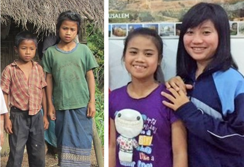 Phui (inside on both photos) before she came to CLACC (still at her house) and six months later at CLACC. The same person?