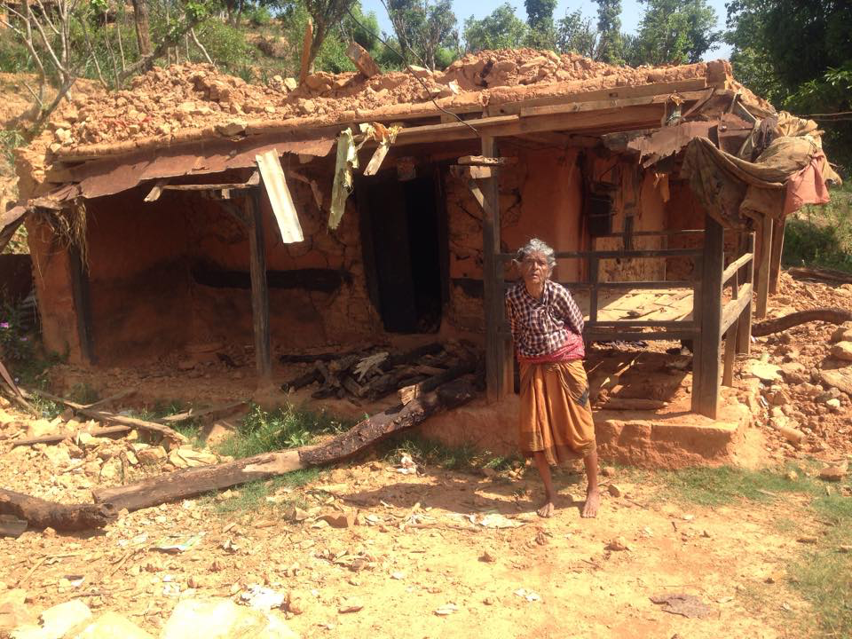 Granny at her collapsed house