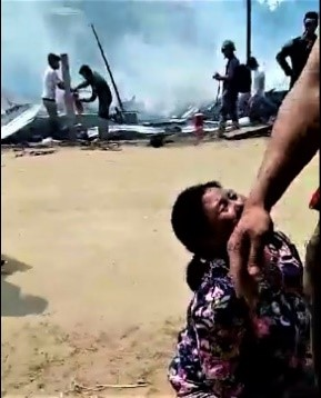 - To hear the screams of this Katchin women is gut wrenching. She has just lost her family. Behind her is her burnt down village. Note the soldier with machine gun. Place: Near Mung Lai Hka IDP camp, Katchin State. In action: Burmese Army (No. 298 Infantry Battalion - Kha La Ya 298). This is picture from a video – smuggled out, low quality, amateur. It's available.