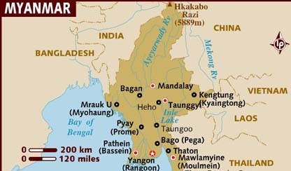 The large Katchin and Shan States cover all of North East Myanmar while Chin State borders Bangladesh in the West. These are the battle fields. This is secret wars territory, heartbreak country