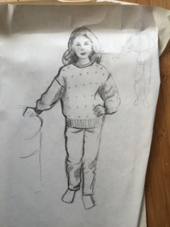 My Esprit outfit! Another sketch Mom did of me.
