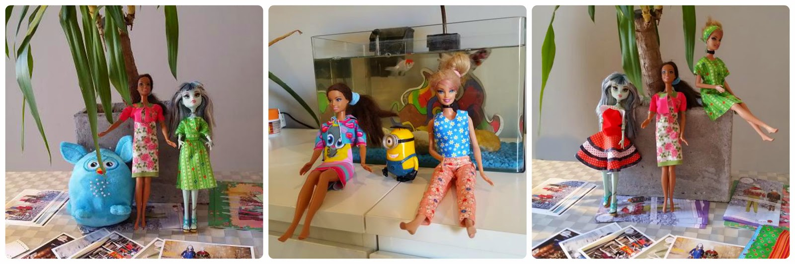 The dolls all look so stylish in their outfits! (And Furby could join the photo shoot!)