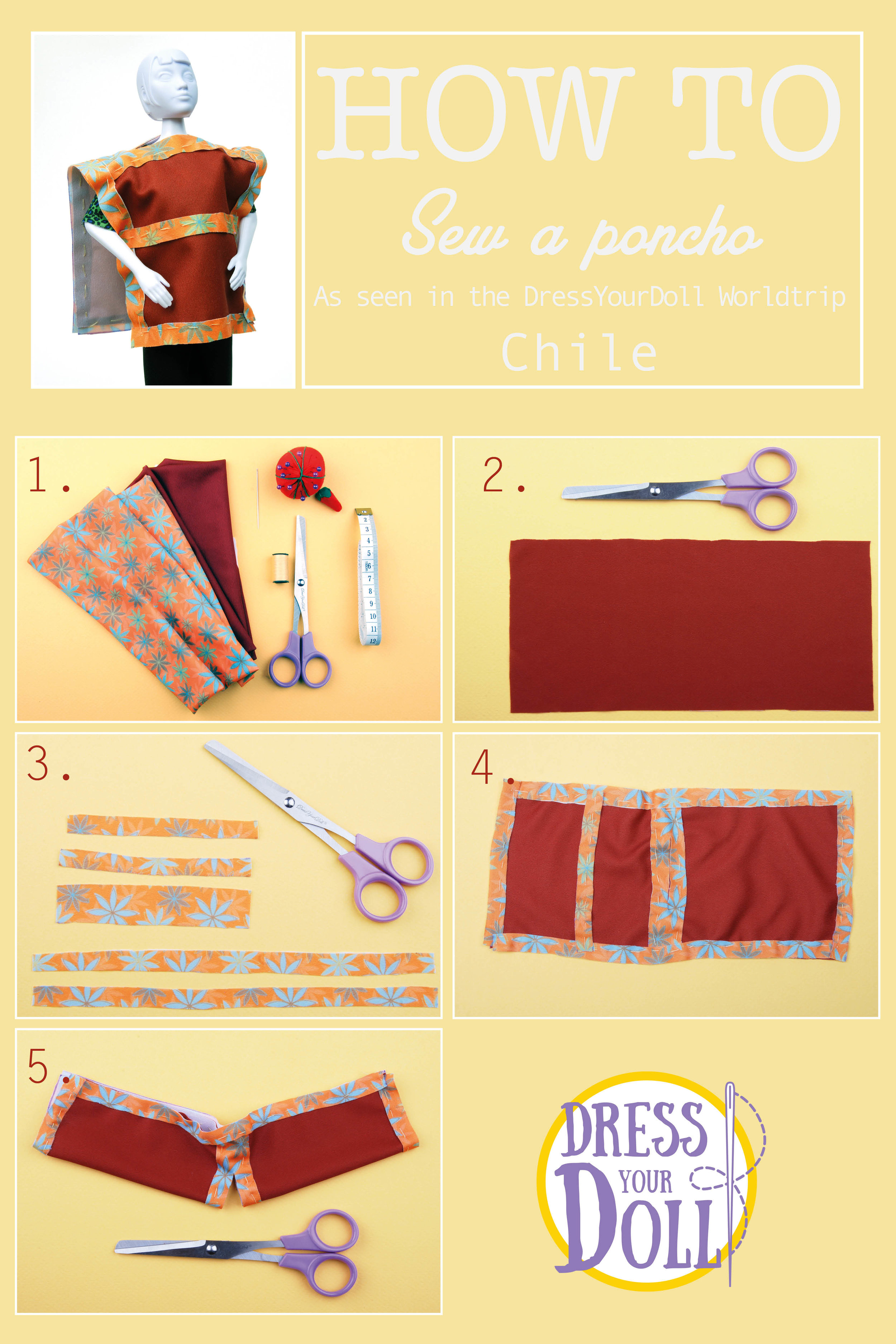 Poncho - 1. What do you need?2. Cut out a rectangle of 10 cm x 20 cm out of plain fabric3. Cut out- 2 rectangles of 1 cm x 20 cm- 3 rectangles of 1 cm x 10 cm- 1 rectangle of 2 cm x 10 cm out of the printed fabric4. Sew the printed rectangles to the corresponding sides of the plain rectangle, as seen on the picture.5. Cut out a hole for the head in the middle of the poncho by folding it in the length and cutting the two pieces of fabric at once.