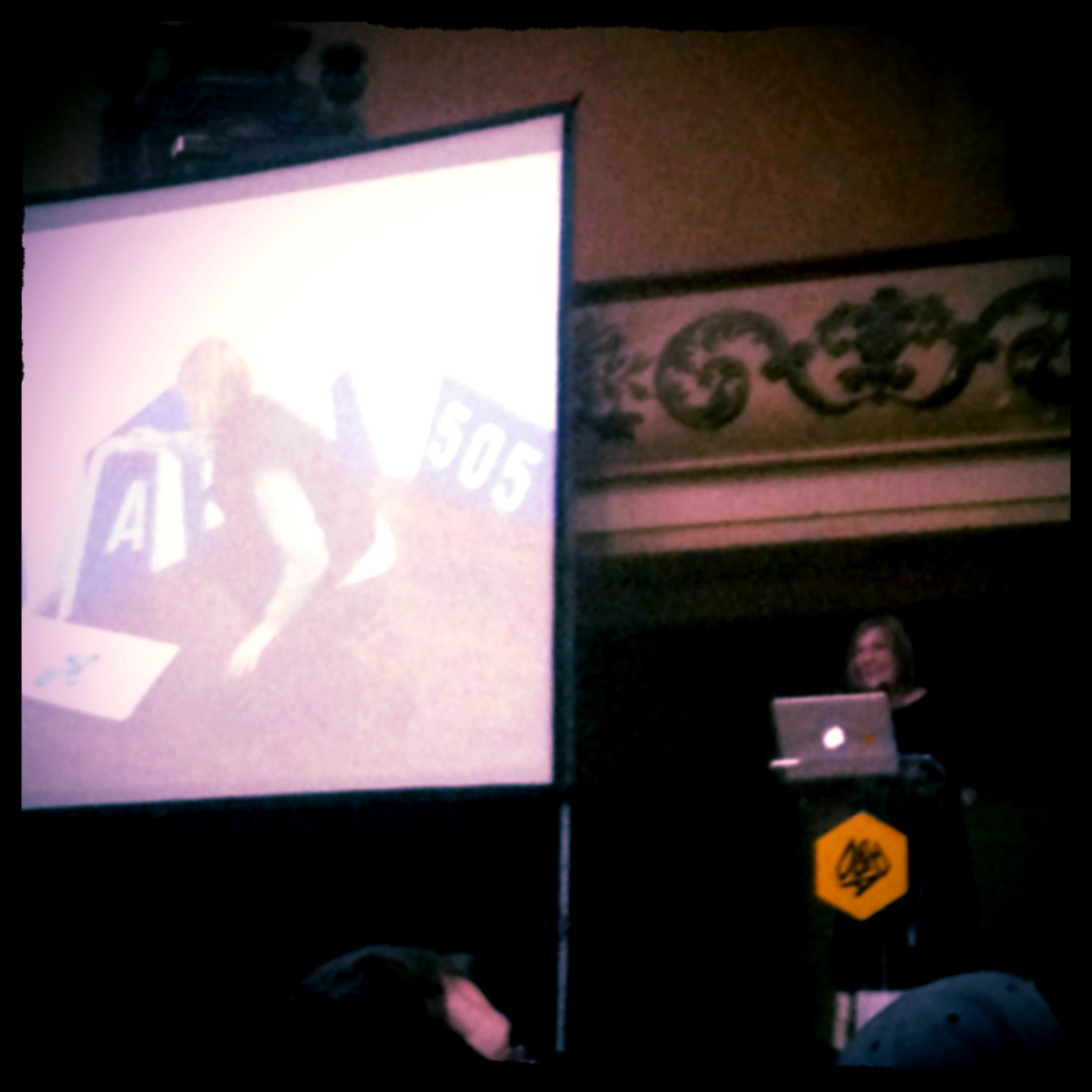 Margaret Calvert talking at the D&AD President's Lecture at Shoreditch Town Hall, Shoreditch, London