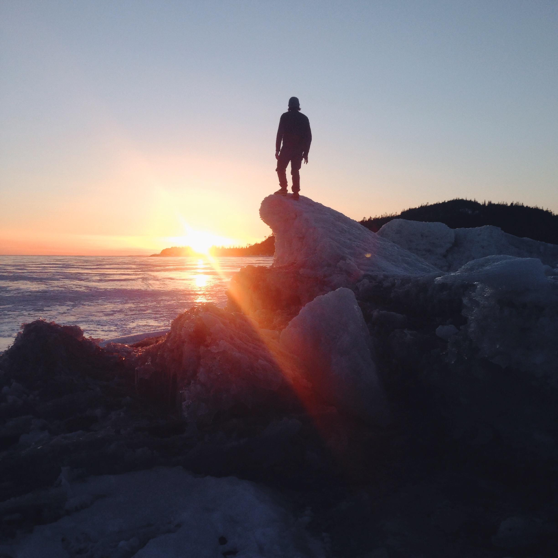 Christo gazing over the frozen horizon.