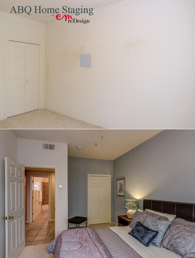 Before and after blue bedroom