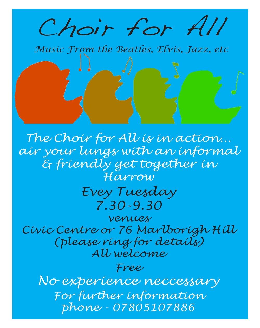 """The Original poster for """"Harrow Community Choir"""""""