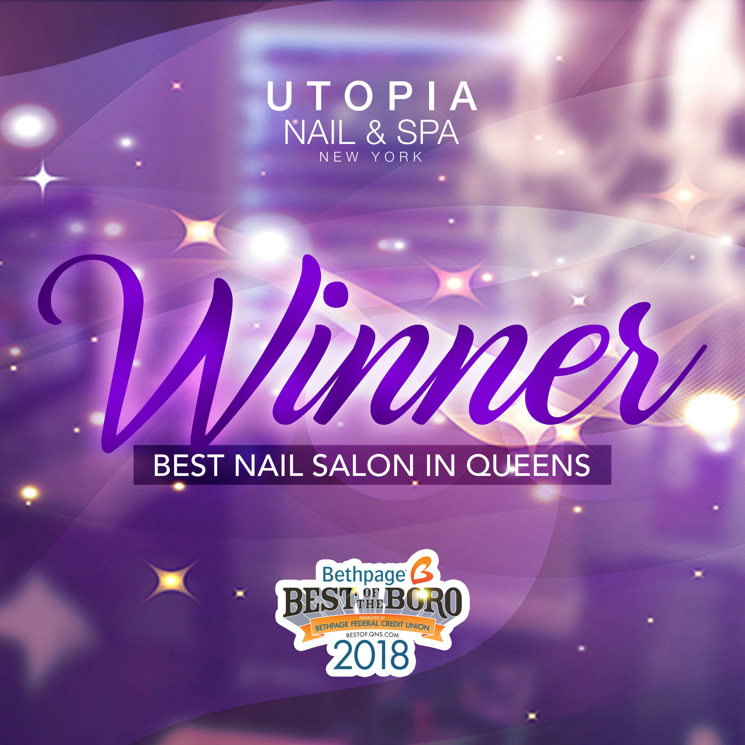 2018 WINNER : UTOPIA NAIL & SPA NEW YORK : BEST NAIL SALON IN QUEENS