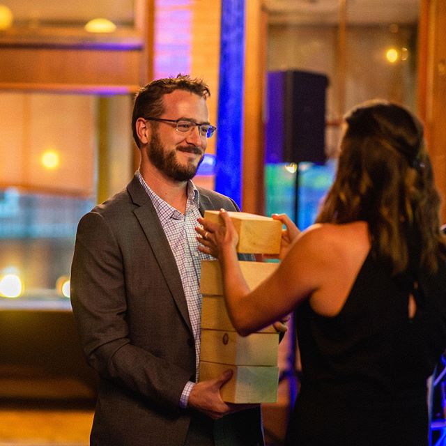 @stephcraigphoto captures the moment of the fifth @adclubwm Creative Award we won last month for motion graphics (two bronze and three silver equal at least one gold amiright?) and our spiffy outfits for the occasion #winning🏆