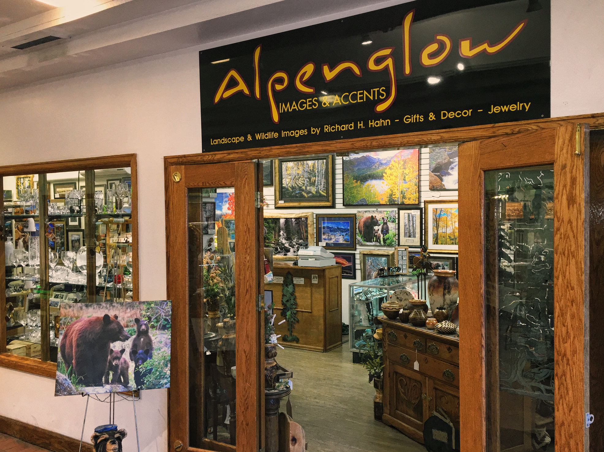 Alpenglow, Richard and Helen's gallery in downtown Estes Park, displays Richard's photography as well as other fine art.
