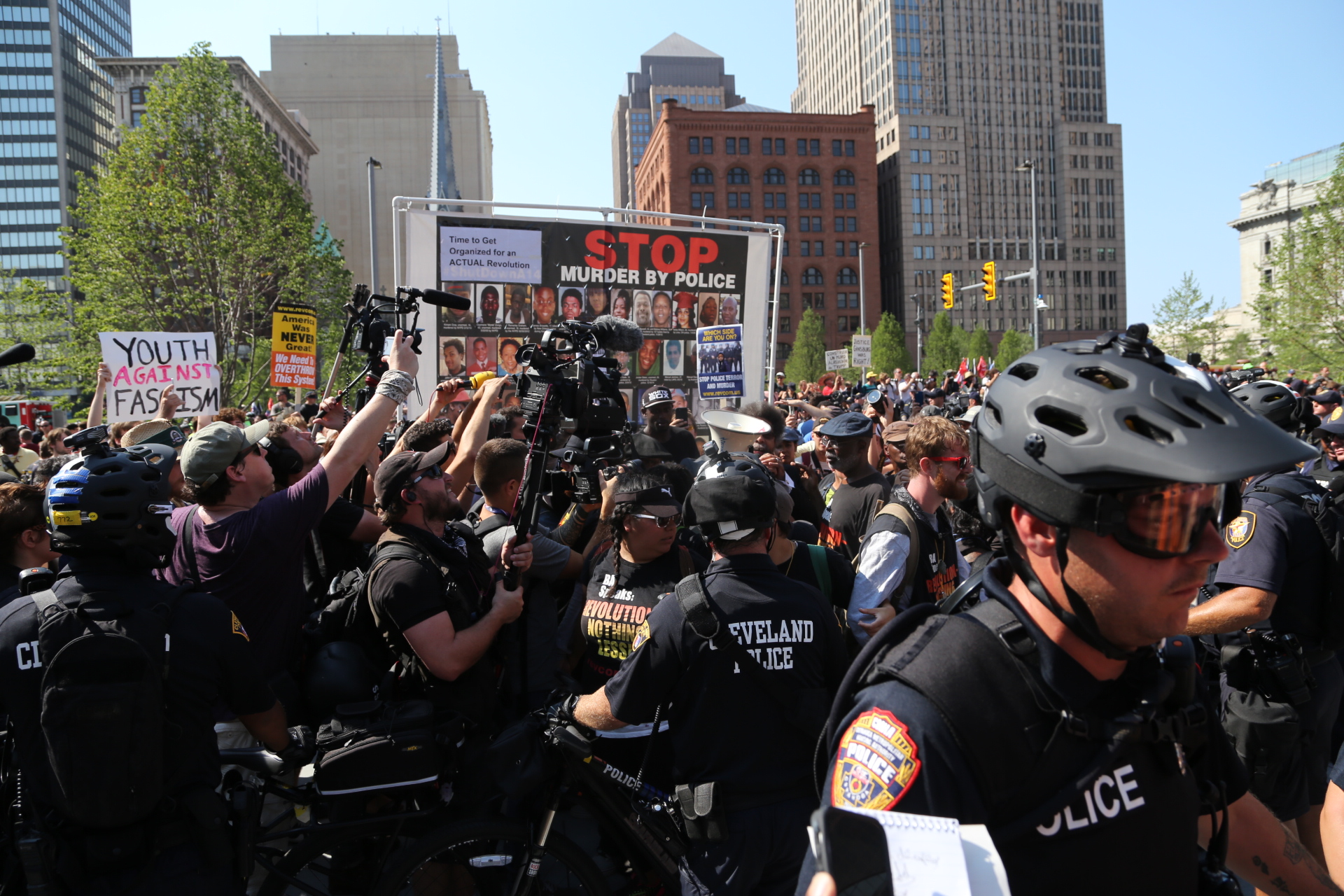 One of many protests on Cleveland's Public Square during the Republican National Convention