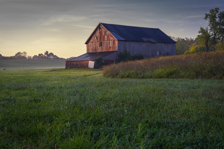 Soft Morning Light Illuminates The Red Barn.
