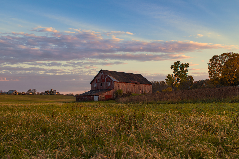 Late Afternoon Light Illuminates The Red Barn.