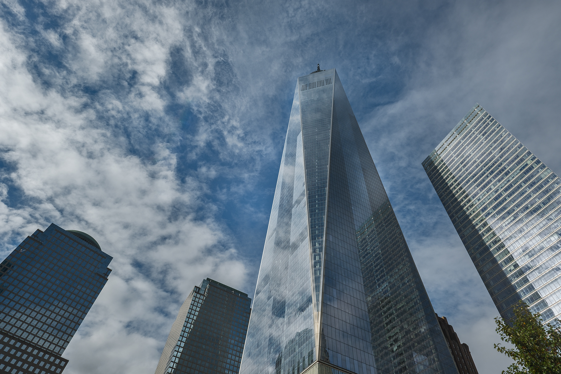 The view of One World Trade Center from the Oculus.