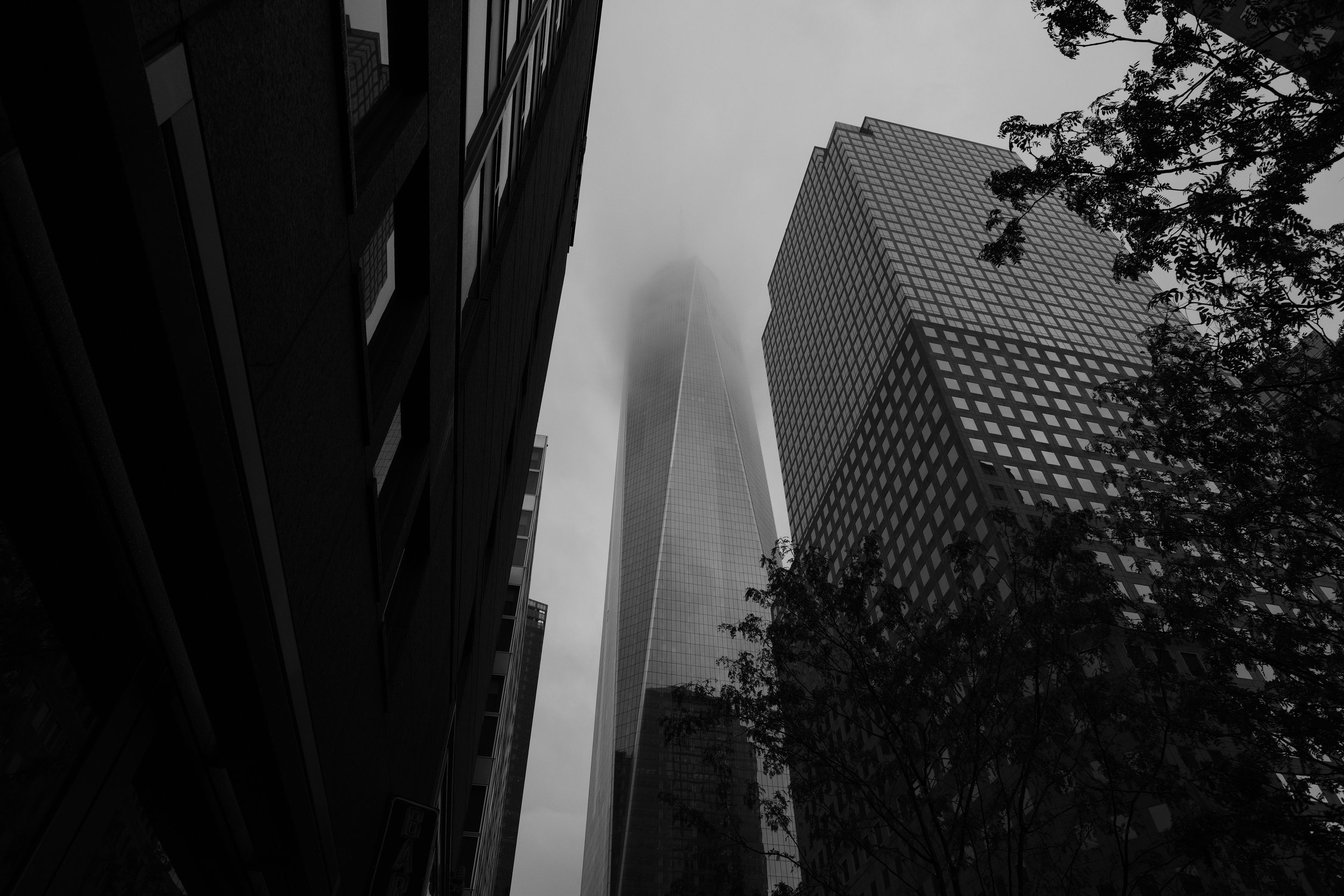 One World Trade Center from the Blue Smoke on Vesey Street, SOOC, Acros NeoPan Film Emulation.
