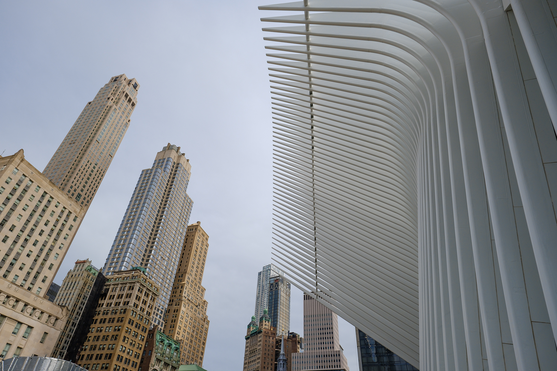 The linear forms of the Oculus super structure stand in stark contrast to the buildings of New York. Astia Film Emulation.