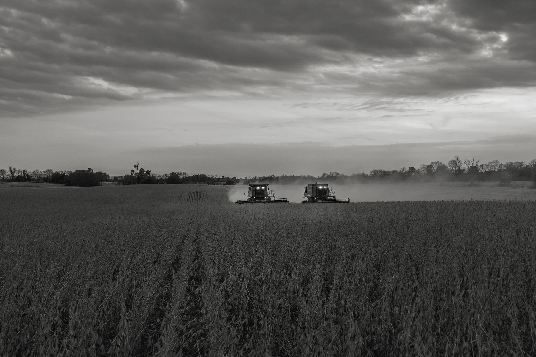 Dueling combines work under a darkening sky.Fuji X-T2 and a Fujinon XF16-55mm f2.8 WR at 55mm. Image exposed at ISO 800 at f4 for 1/60 of a second.